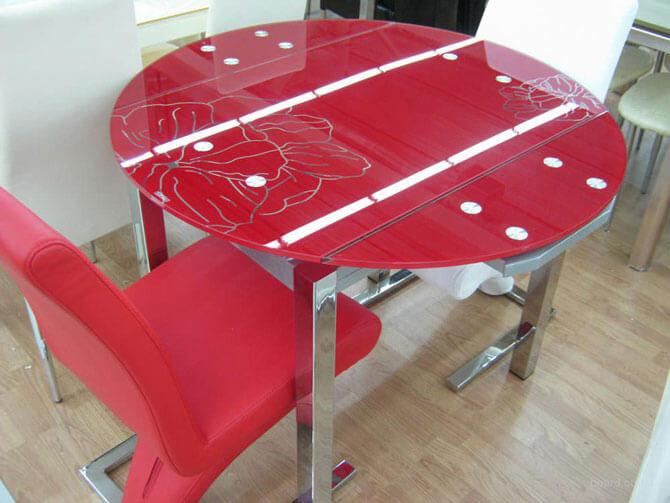 Круглый стеклянный стол трансформер