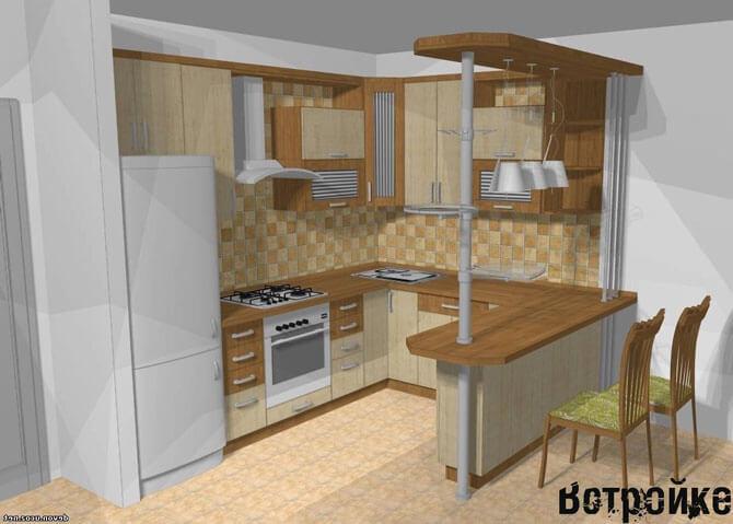Дизайн кухни Г-образной формы
