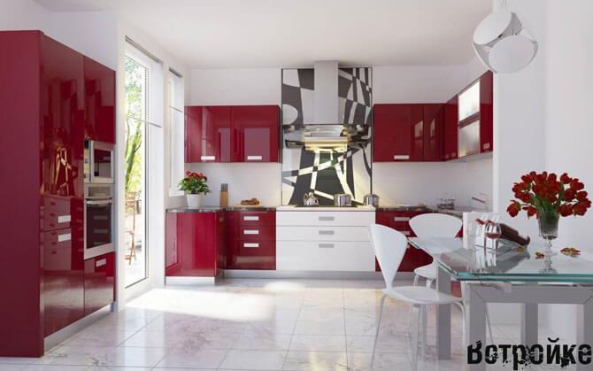 Дизайн большой красно белой кухни