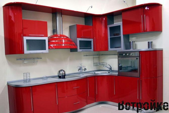 Кухни красные угловые фото