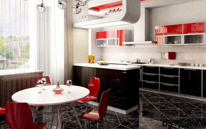 кухня низ черный верх красный