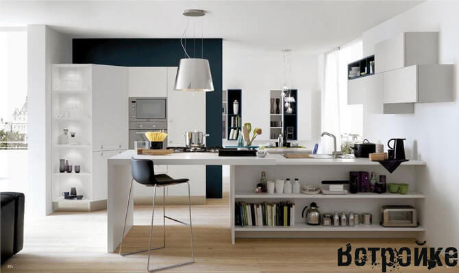 дизайн студии комнаты с кухней