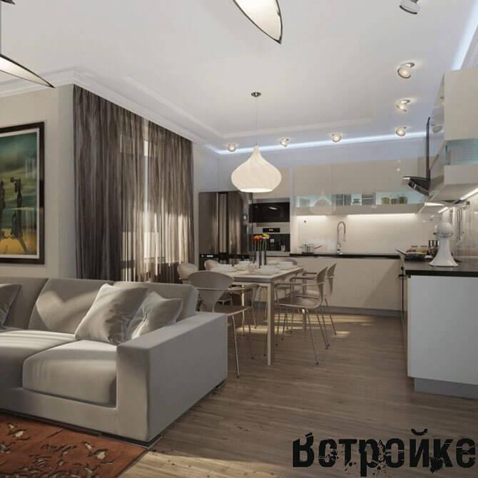 Дизайн гостиной кухни 22 кв м