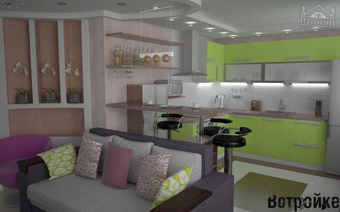 Кухня - гостиная 8 кв. м.
