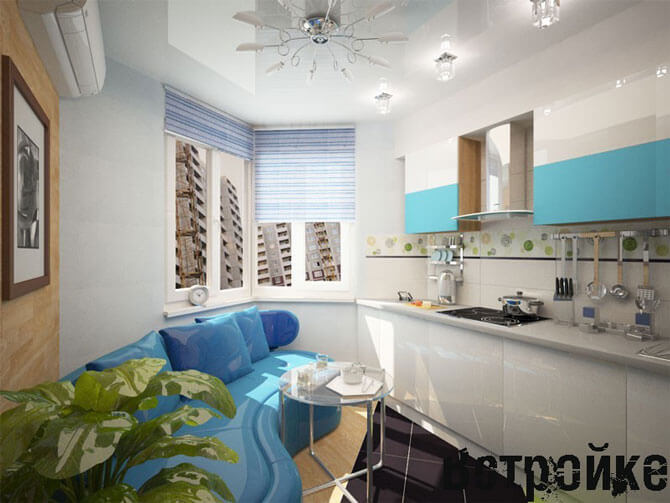 диван на кухне в интерьере