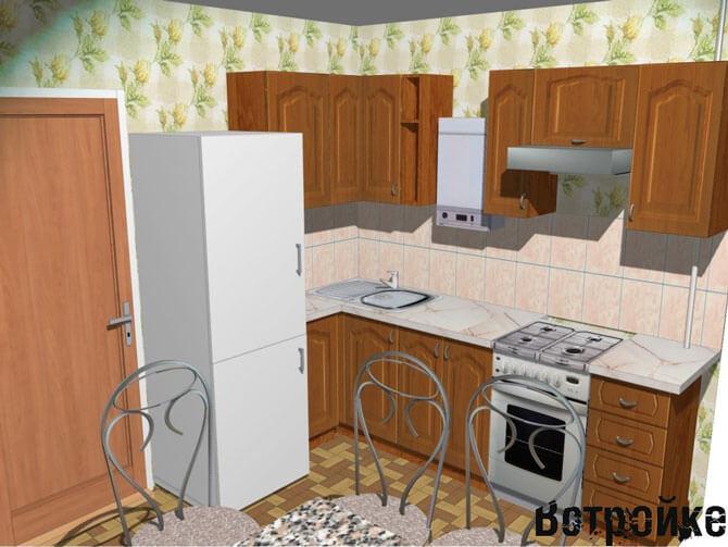 Кухня хрущевка с газовой колонкой