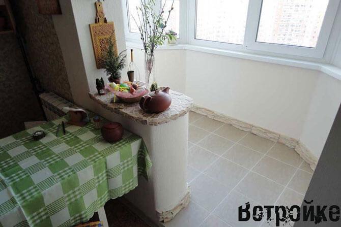 лоджия совмещенная с кухней фото