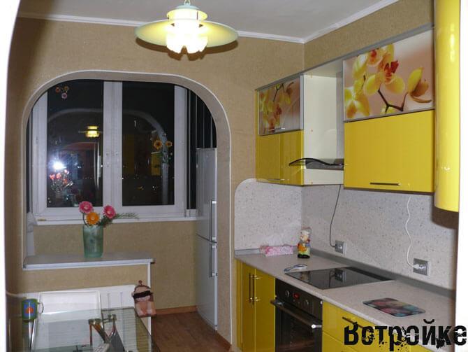 Кухня соединенная с лоджией фото