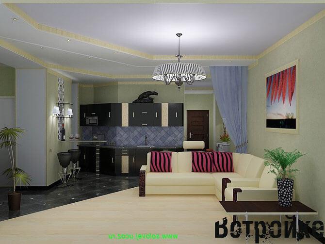 кухня и зал совмещенные фото