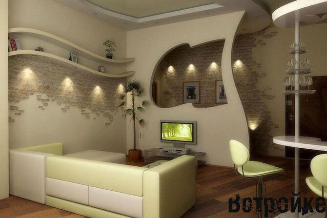 Вариант дизайна совмещенных кухни и зала