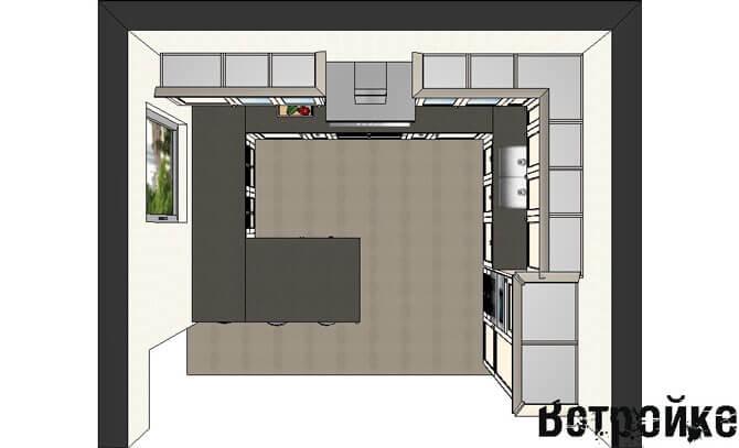 Расстановка мебели на квадратной кухне