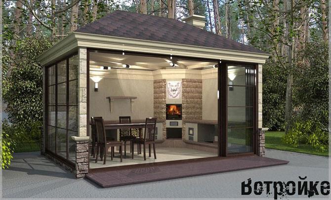 Дизайн летней кухни с печкой