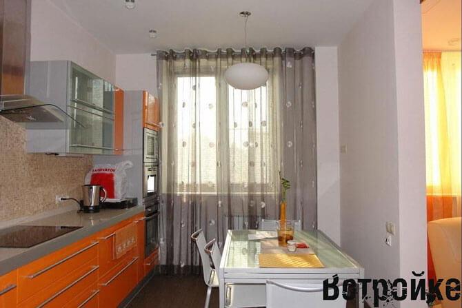 Дизайн штор-тюли на кухню фото