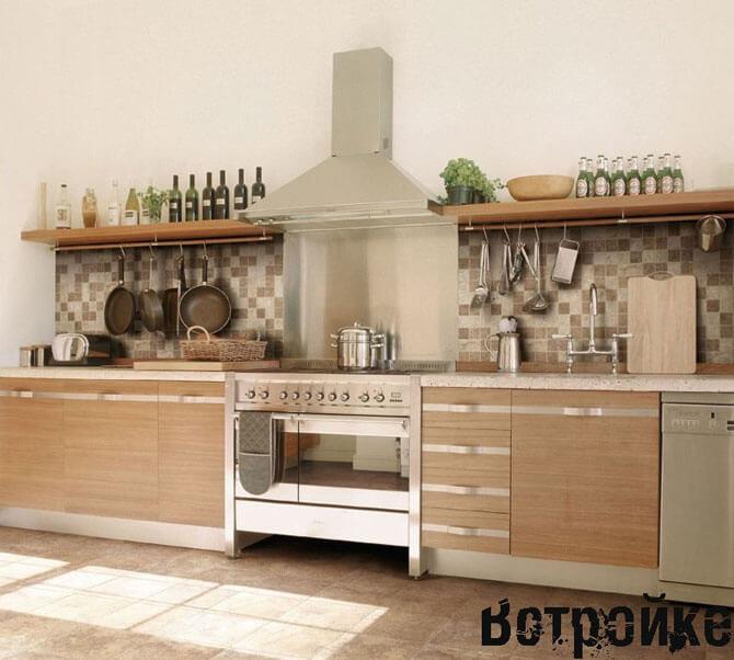 кухня без верхних навесных шкафов дизайн