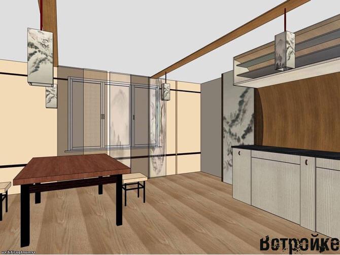 Дизайн проект кухни в японском стиле