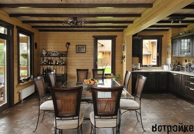 Современная кухня в деревянном доме фото