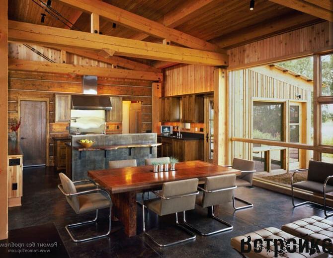 Интерьер кухни в деревянном доме