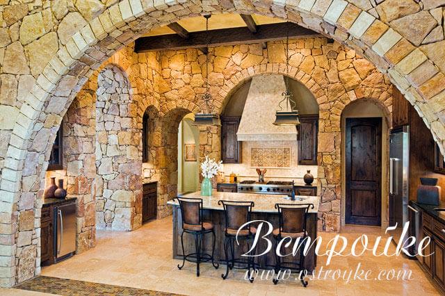 дизайн кухни гостиной с аркой