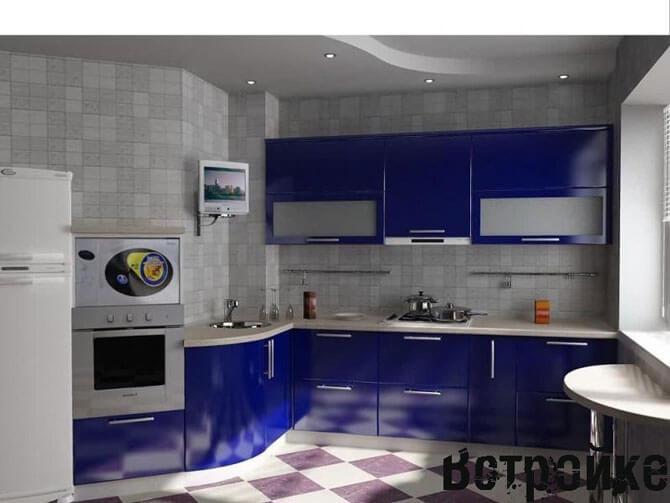 Синяя кухня 13 кв. м.