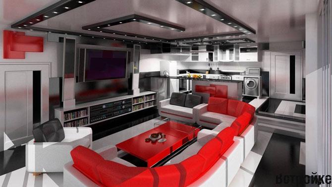 Дизайн кухни гостиной черно белого цвета