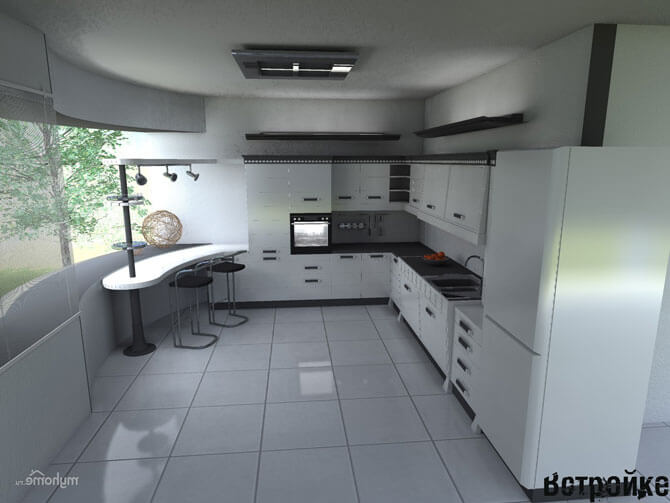 дизайн кухни черно белого цвета фото