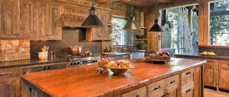 кухни из дерева под старину