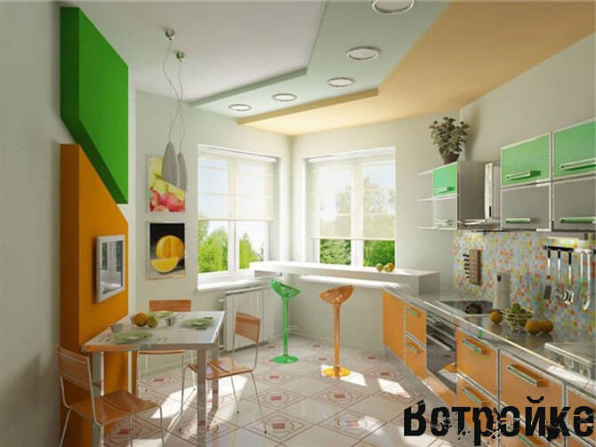 Дизайн кухни с эркером п44т