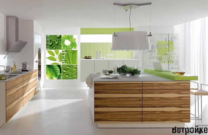 дизайн кухни с фотообоями фото