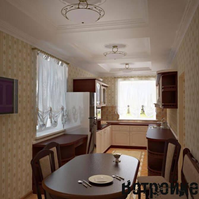 дизайн кухни вдоль окна фото