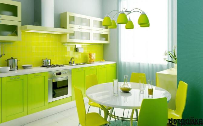 Интерьер кухни салатового цвета