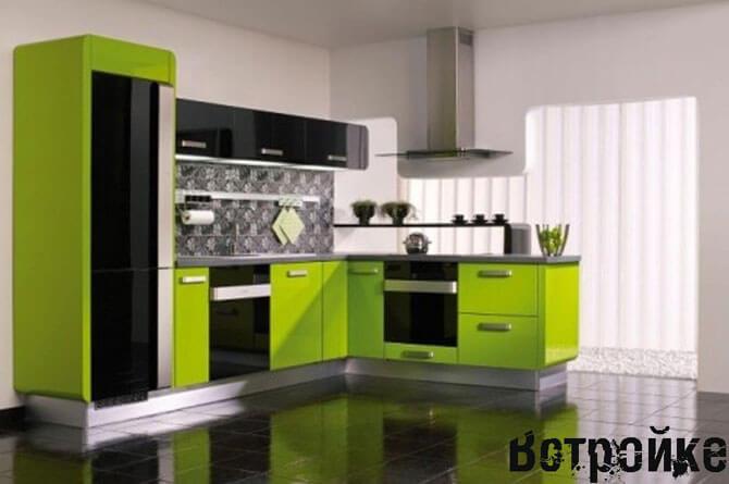 дизайн кухни салатового цвета