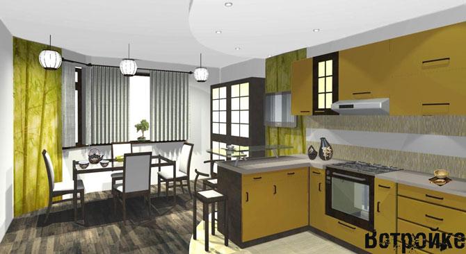 дизайн кухня столовая в доме