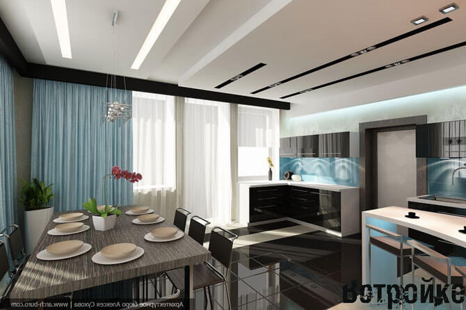 дизайн кухни столовой в коттедже