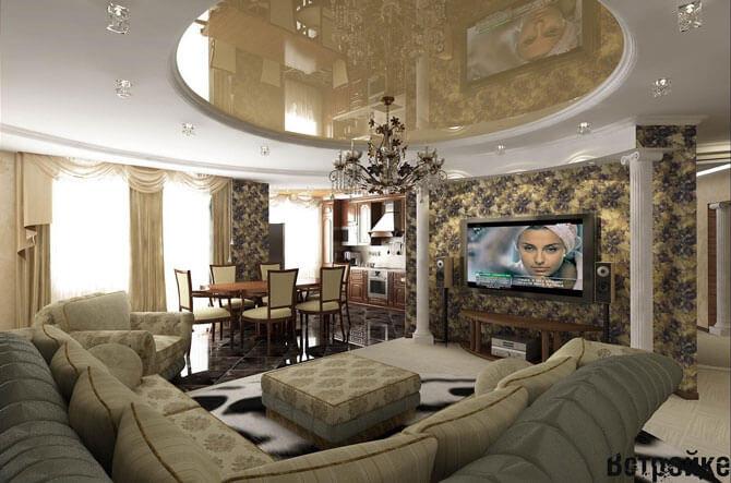 Зонирование между кухней, столовой и гостиной