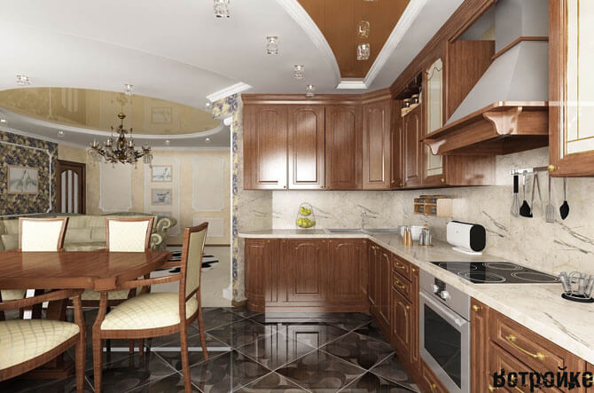 Вариант оформления кухни со столовой