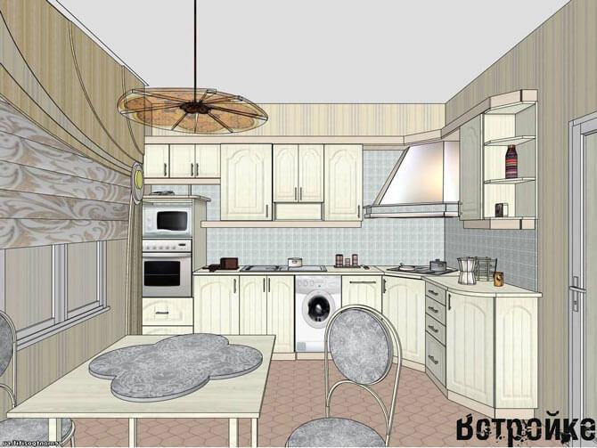 планировка кухни в брежневке