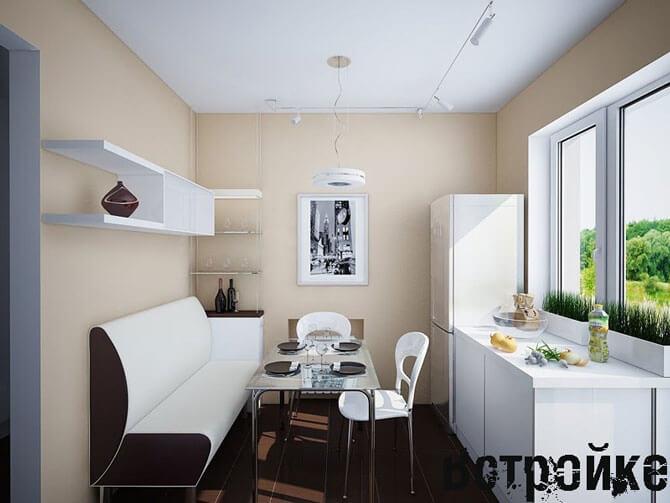 узкая длинная кухня дизайн фото