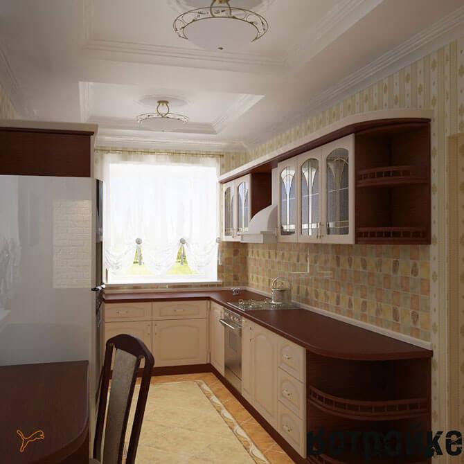 Расположение мебели на длинной широкой кухне