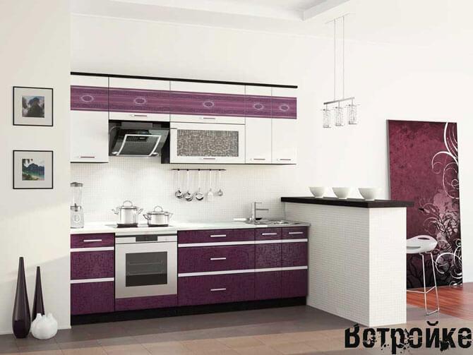 Кухня белого и фиолетового цвета