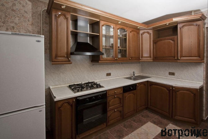 Дизайн Г-образной кухни 16 м2