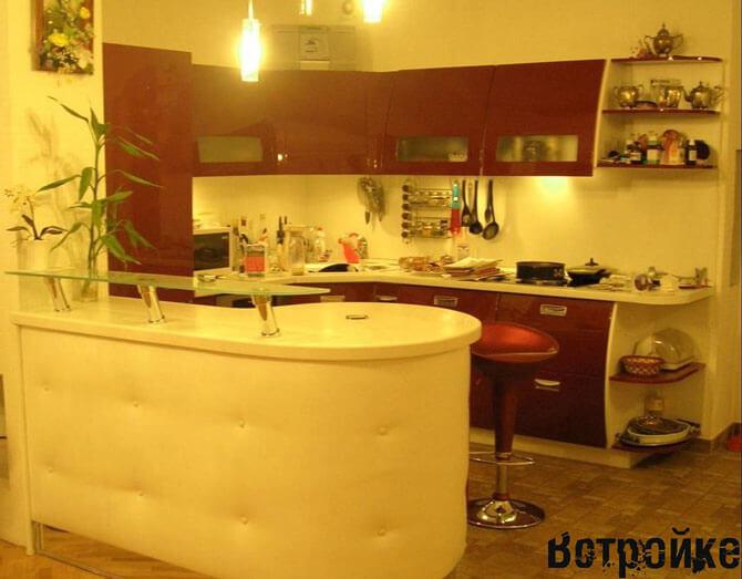 Дизайн кухни 16 м2 с барной стойкой