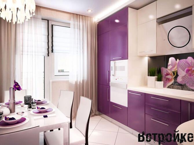 сиреневые кухни дизайн фото