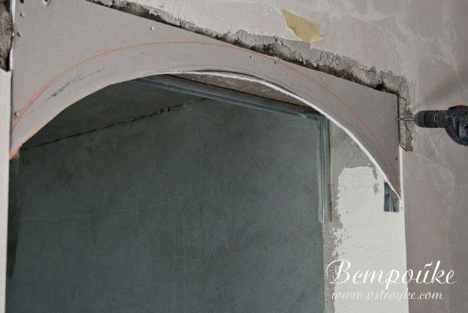 Установка гипсокартона арки на металлические профиля