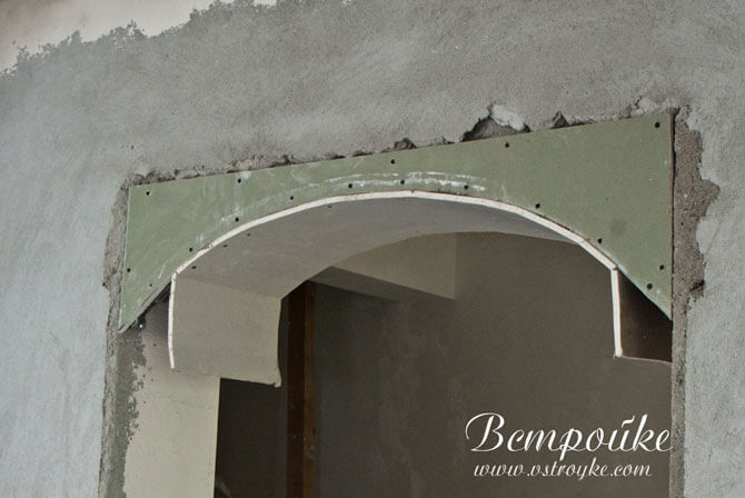 Завершение установки гипсокартона арки