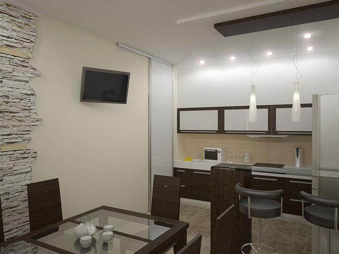 Мебель на кухне совмещенной с гостиной