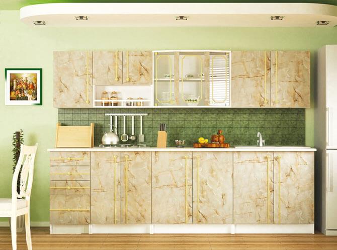 Кухня эконом класса АЛИНА, цвет мрамор темный,ольха ДСП