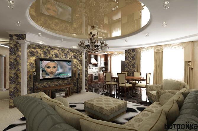 Дизайн интерьера кухни - гостиной
