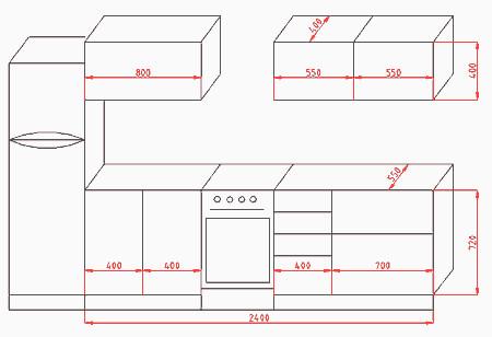 Чертеж мебели для кухни