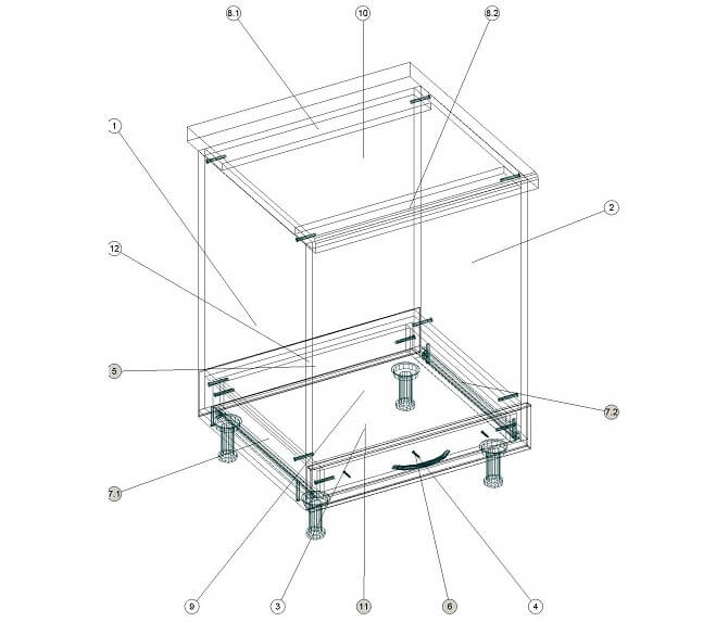 Кухонный нижний модуль под духовку 600 х 600 х 860 - чертеж