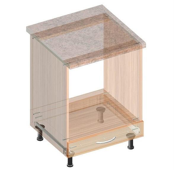 Кухонный нижний модуль под духовку 600 х 600 х 860 - экскиз